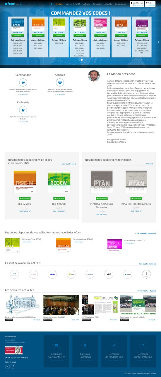 Homepage du site AFCEN