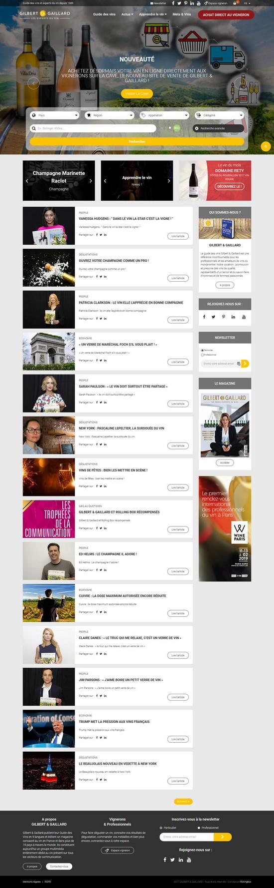 Homepage du site Gilbert et Gaillard – Edito