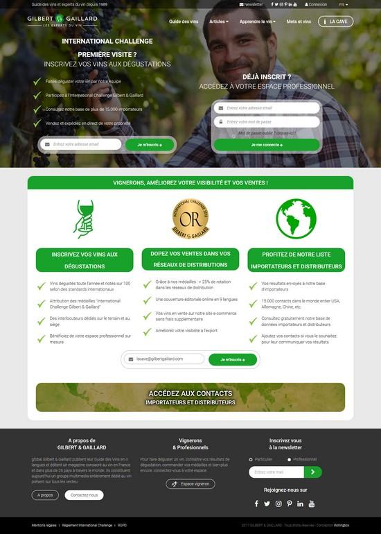 Homepage du site Gilbert et Gaillard – Vigneron