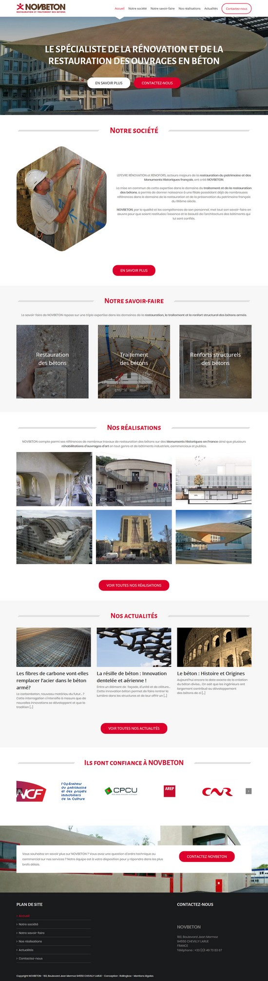 Homepage du site Novbeton