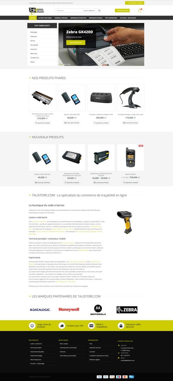 Homepage du site Talistore